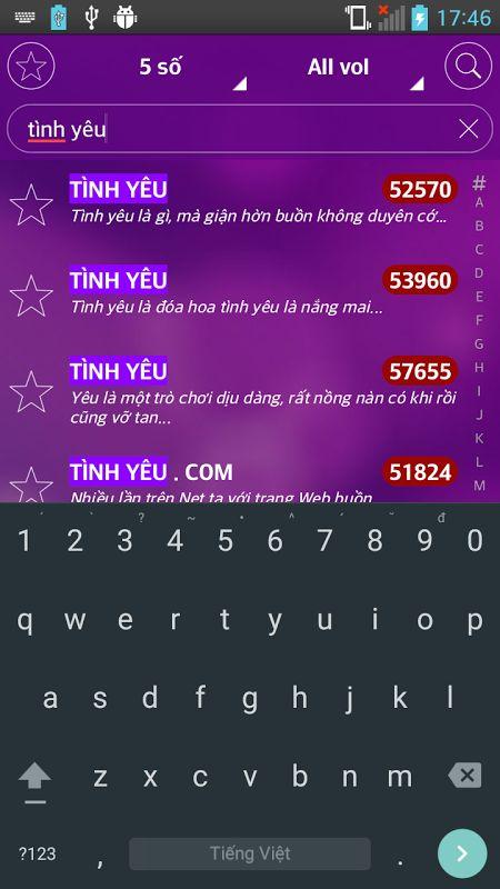 Ứng dụng tìm kiếm mã số bài hát Karaoke Việt Nam 5 số 6 số khá thuận tiện và chính xác dành cho Android iOS miễn phí không cần mạng, k 3G đã xuất hiện. Với ứng dụng này bạn có thể nhanh chóng tìm ra bài hát mình yếu thích, lưu lại ở mục yêu thích và còn nhiều hơn thế nua, hãy tải Karaoke Việt Nam  về điện thoại và từng bước tìm hiểu các tính năng trong ứng dụng cho người yêu ca hát này nhé!