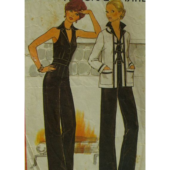 Sexy fitted jumpsuit right out of the movies! It is fitted through the bodice and hips and has a waistband insert. The bodice is sleeveless and has cut-in armholes. There is a notched collar and front buttons, through the waist insert. The pants have a front zipper and are straight cut.