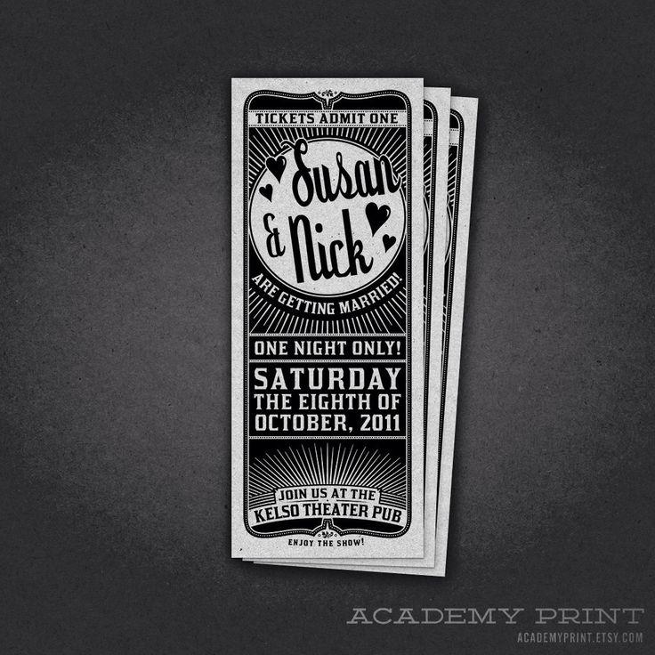 Printable Wedding Theater Ticket Invitation - Ticket Style Wedding Invitation - Vintage Birthday Ticket Invite - Retro Party Ticket Invite by AcademyPrint on Etsy https://www.etsy.com/listing/104878621/printable-wedding-theater-ticket