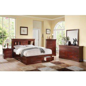 Acme 24380Q Louis Philippe Cherry Bookcase Queen Storage Bedroom Set