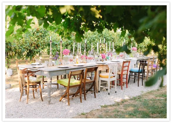 Beautiful Boho Chic Outdoor Wedding Reception Dinner Setting Love The Vintage Eclectic Chairs Farm