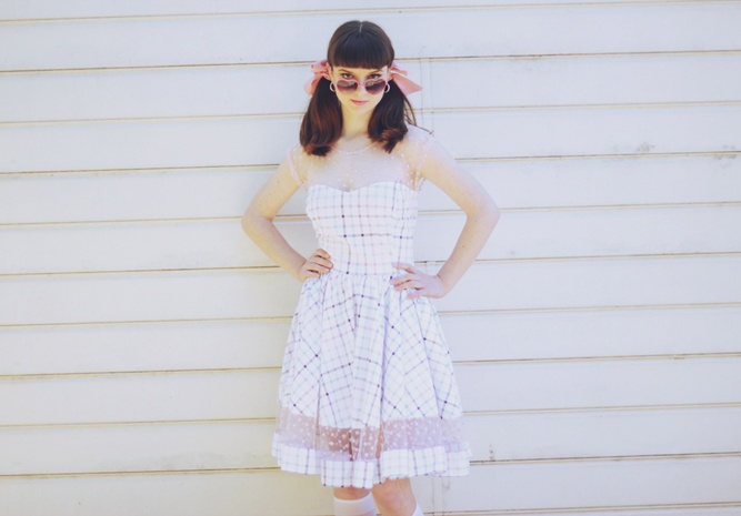 "Plaid ""Sweetheart"" dress with heart lace detail"