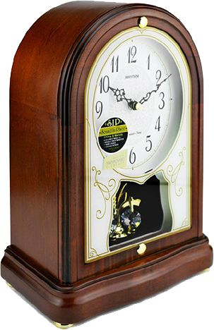 -Beautiful Rhythm Table Clock with Westminster-Chime  -wooden Case  - MADE WITH SWAROVSKI ELEMENTS ( turns)  -SIP -Sound In Place-  Chime & Melodie  -4 x 4 WESTMINSTER  -HOURLY WESTMINSTER  -16 MELODIES  -3 X-mas SONGS  -automatic Night-shut-off PM11:00-AM5:45  -24Hr ON  -Made in Japan  -2 Years Guarantee  -Batteries 2 standard C Size + 1 standard AA