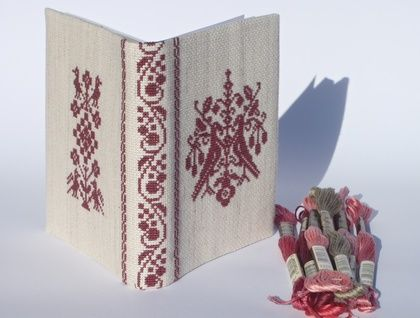 Scandinavian Cross Stitch A6 Journal Cover - Mighty Magenta