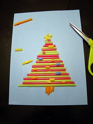 Preschool Crafts for Kids: Straw Christmas Tree