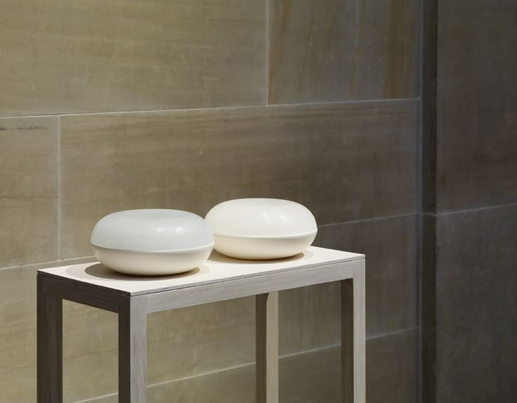 Andrea Walsh / Pair of Large Round Box / 2014 / Porcelain and Klin Cast Glass / One-Off Pieces / Courtesy Galerie Mouvements Modernes