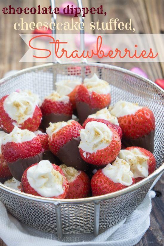 Chocolate Dipped Cheesecake Stuffed Strawberries - I Wash... You Dry