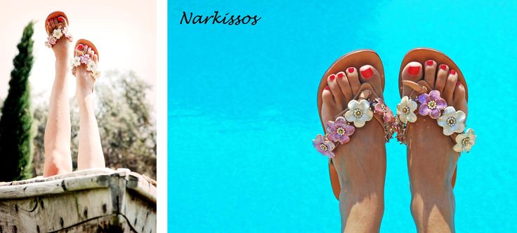 Narkissos Flip-flop! In Greek Mythology, Narkissus was a young man who was celebrated for his beauty and attracted many admirers. Bonbon Sandals