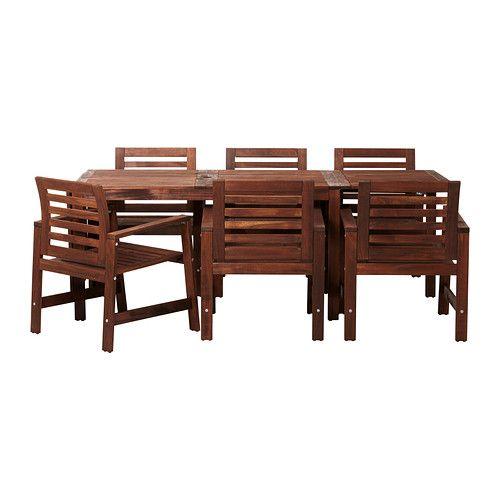 IKEA - ÄPPLARÖ, Stol+6stolica, Stol se može produljiti ako vam treba još mjesta za više ljudi.Svoj namještaj lako možete zaštititi od habanja redovitim premazivanjem lazurom, primjerice, jednom godišnje.