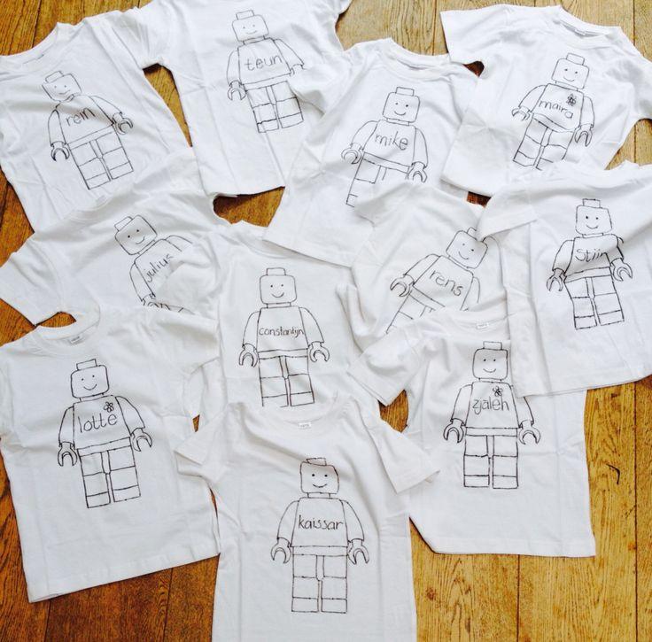 DIY t-shirts tekenen om in te kleuren tijdens het kinderfeestje.