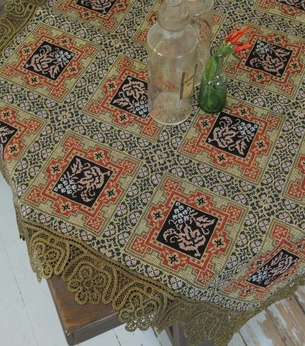 Καρέ Βυζαντινού Τύπου 110x110cm Tradition - Πλεκτές Γωνίες & Καρε   Pennie®
