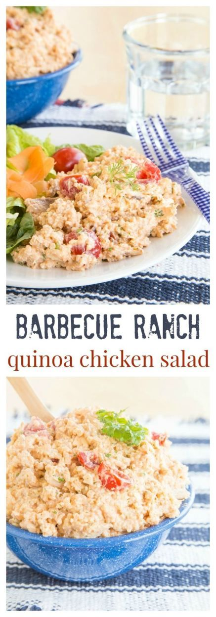 Barbecue Ranch Quinoa Chicken Salad - combine a healthy Greek yogurt Ranch dressing with your favorite barbecue sauce for a satisfying cool dinner or lunches all week. | cupcakesandkalechips.com | gluten free recipe