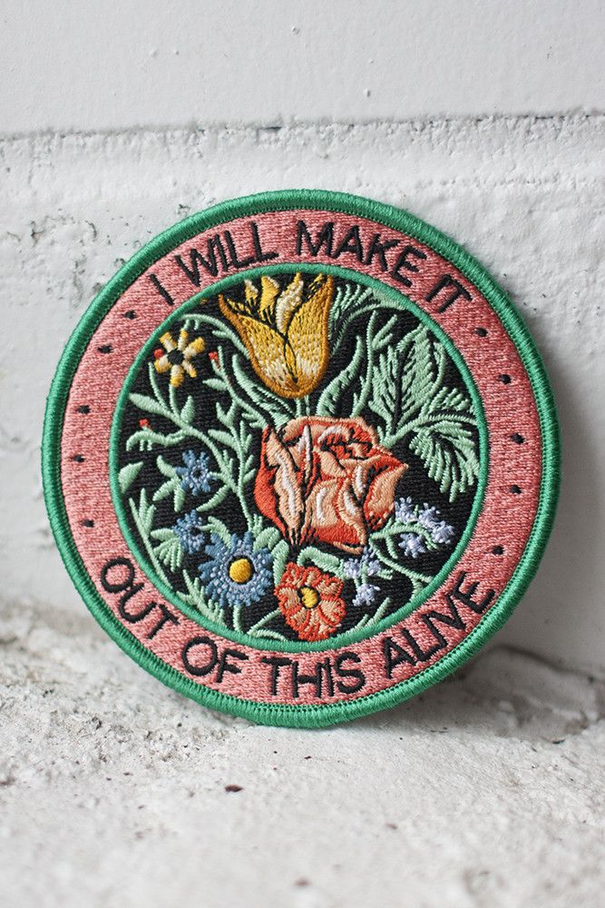"""We worked with Allison Weiss to design a series of 3 patches based on the lyrics from her new album New Love. This patch is inspired by the song """"Out Of This Alive"""".Your purchase of any patches from this collection comes with a free download link for one of Allison's songs (usually sent with your shipping confirmation email. 3.5"""" embroidered patch with iron-on backing. Follow the instructions below to affix this patch to a garment of your choosing (click to enlarge)!For items that will…"""