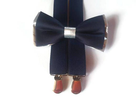 NAVY blue silver bow tie and suspenders navy set for ring