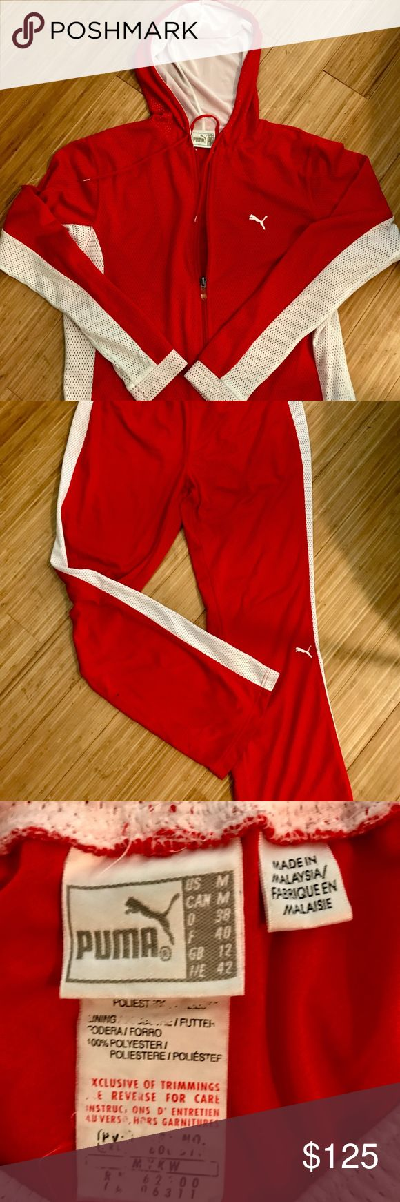 Vintage Puma Hot Red Women's Medium Athletic Suit. In incredible condition!  Mesh outer.  Lined.  Light weight for after your workout.    Super soft fabric.   All ties intact.  Zipper works perfectly.  No stains or tears.    You will be hard-pressed to find another one like this! Well worth the investment! Puma Pants Track Pants & Joggers