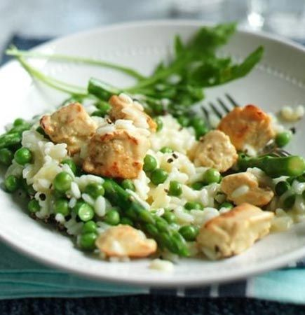 Vegetarian Chicken, Asparagus and Pea Risotto Recipe from Quorn