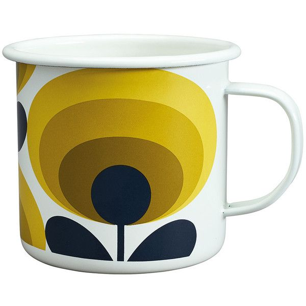 Orla Kiely 70s Flower Enamel Mug - Dandelion (4.795 HUF) ❤ liked on Polyvore featuring home, kitchen & dining, drinkware, yellow, yellow mugs, enamel mugs, enamel tableware, orla kiely and floral mugs