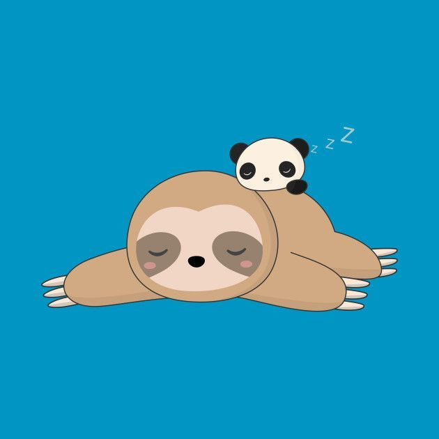 Kawaii Lazy Sloth And Panda T Shirt Teepublic Sloth Art Sloth Drawing Sloth Cartoon