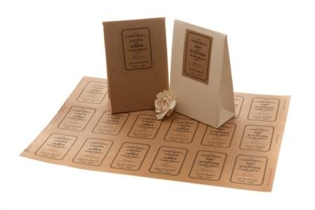 Personalised stickers for favours (envelopes with seeds and recipes inside?)