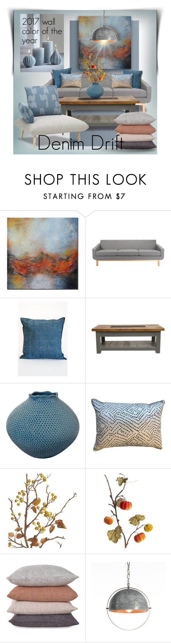 """Denim Drift 2017 Wall Color of the Year"" by constanceann ❤ liked on Polyvore featuring interior, interiors, interior design, home, home decor, interior decorating, B'Sbee, Ryan Studio, Crate and Barrel and West Elm"