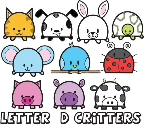Huge Guide to Drawing Cartoon Animals from the Uppercase Letter D - Drawing Tutorial for Kids