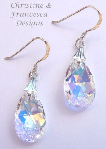 Gorgeous multi colour effect crystal ♥ .925 Sterling Silver CRYSTAL AB 16mm size Crystal Pear Earrings made with Swarovski Elements crystals + Gift Box & Organza Gift Bag ~ by Christine & Francesca Designs ---   #handmade #handcrafted #jewellery #bridal #bridesmaid