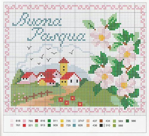 cute church and wild roses cross stitch pattern free
