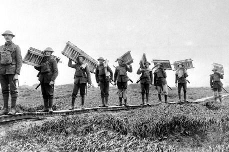 British Tommies with duck-boards - Battle of the Somme.