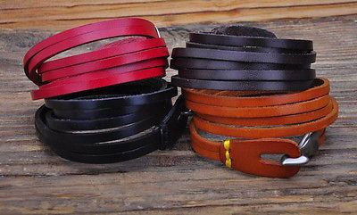 Cool-Clasp-2-Wraps-Top-Grain-Genuine-Leather-Wristband-Bracelet-Cuff-4-Color-New