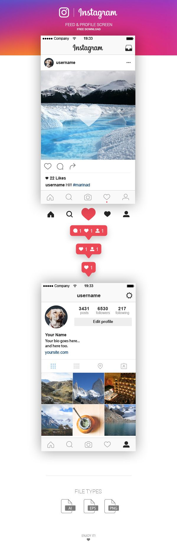 FREE | Instagram Feed & Profile Screen UI – 2016 on Behance