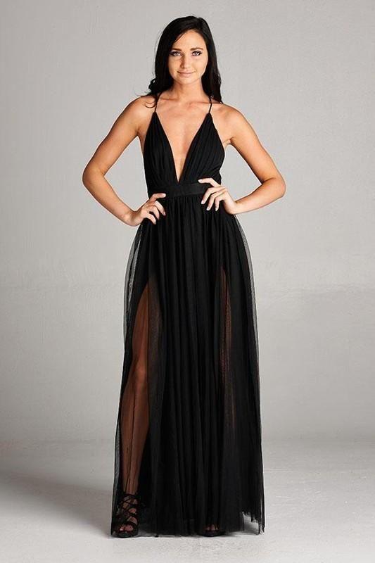 Deep V Plunging Neckline Black Layered Maxi Dress