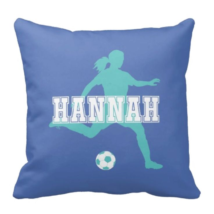 Custom throw pillow for girls. Sports gift for female soccer players. Accent pillow. Couch pillow. Soccer themed bedroom decor for teen girls. Sports gift.