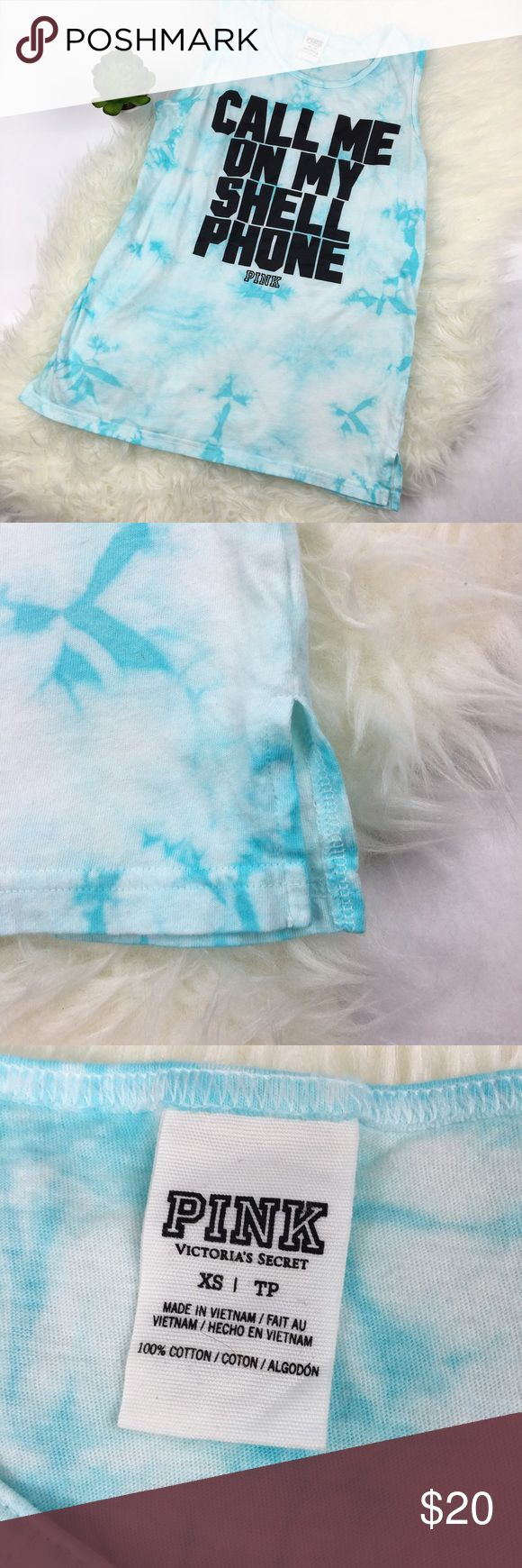 VS Pink Call Me on My Shell Phone Tie Dye Tank So fun for summer, lounging, workouts....you name it! Blue tie dye. Side vent hem. Also fits a small. Excellent condition. Ships same day from a smoke free home! No trades  PINK Victoria's Secret Tops Tank Tops