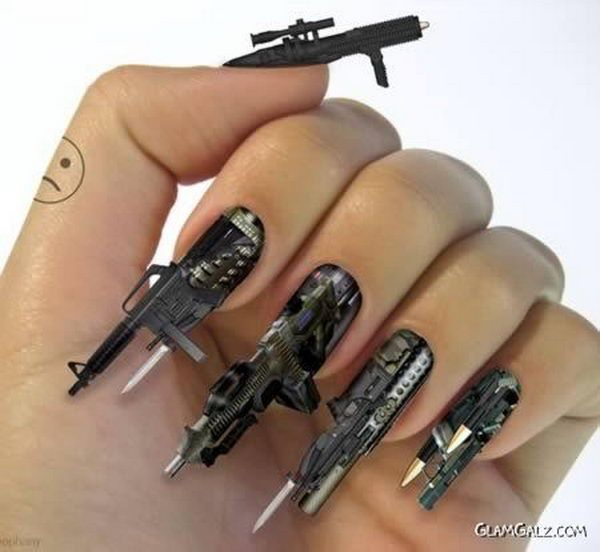 3D Steampunk Machine Gun Manicure, 3D nail art is a technique for decorating nails that creates three dimensional designs.