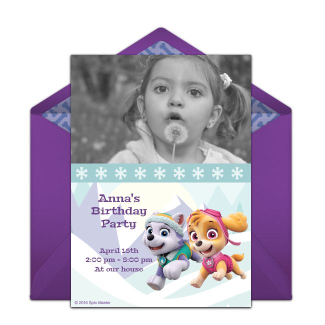 PAW Patrol invitations! Adorable PAW Patrol online invitations you can personalize and send via email for a girls birthday party.