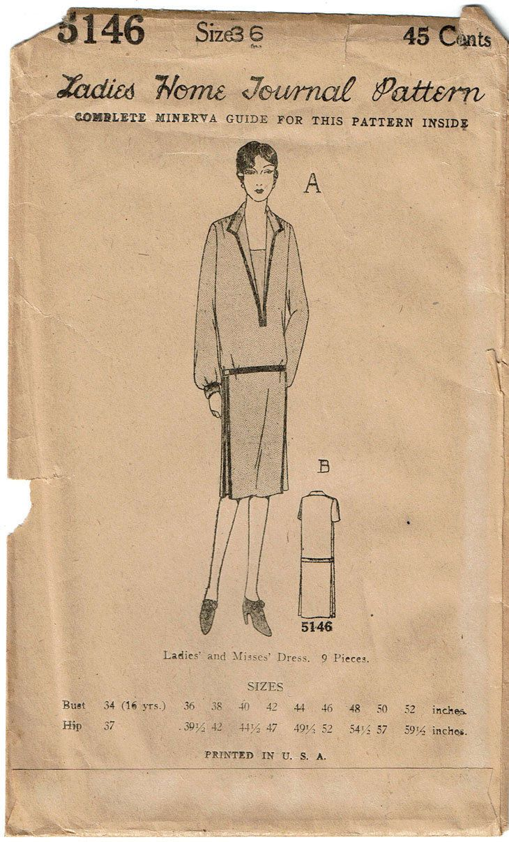 Ladies Home Journal Sewing Pattern 5146. Found in the Spring 1926 Catalog. Unprinted Pattern Pieces. | eBay!