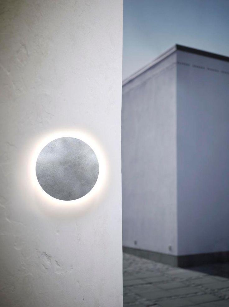 Uno Disc, Nordlux. Ljusbild med effekt, ger ledljus, reflekterande ströljus. Galvaniserad stål är bra för kustklimat.