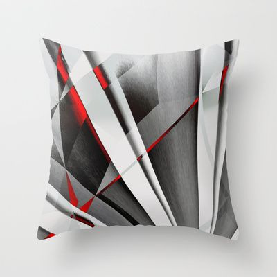 Red Gray Abstractum - Throw Pillow by Max Steinwald - $20.00