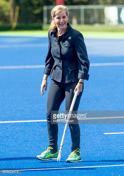 Sophie, Countess of Wessex, Patron of England Hockey meets team members at Bisham Abbey on April 28, 2016 in Marlow, England.