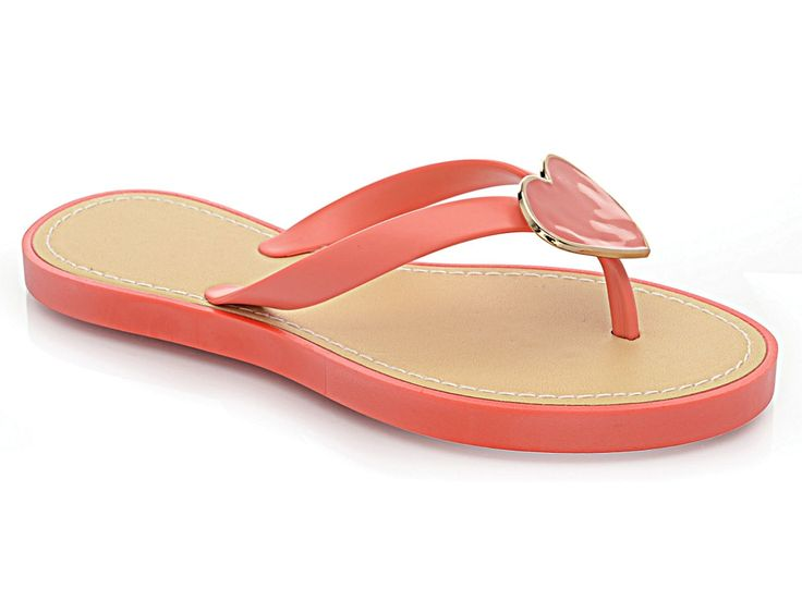 Ladies Girl Jelly Heart Flat Flip Flop Toe Post Summer Beach Holiday Sandal Shoe | eBay