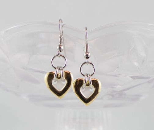 White heart gold color trim button earrings girl Christmas gift