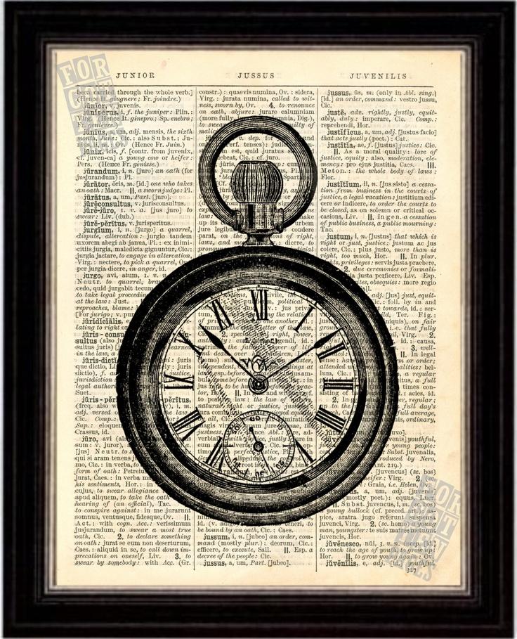 Pocket Watch Print on Upcycled 1896 Latin English Dictionary Page mixed media digital. $8.00, via Etsy.