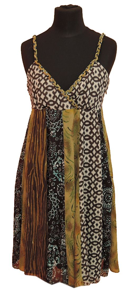 BRUMLA.CZ – Značkový dětský a dospělý second hand a outlet, použité oděvy pro děti a dospělé - Dámské hnědo-zelené vzorované žoržetové šaty