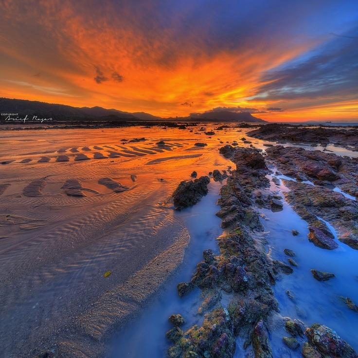 Intense Part V : Tanjung Rhu Episode 3 sky, landscape, sunrise, red, hdr, sunset, color, beach, blue, rock, sand, malaysia, langkawi, vertorama, pantai, tanjung rhu, arief rasa