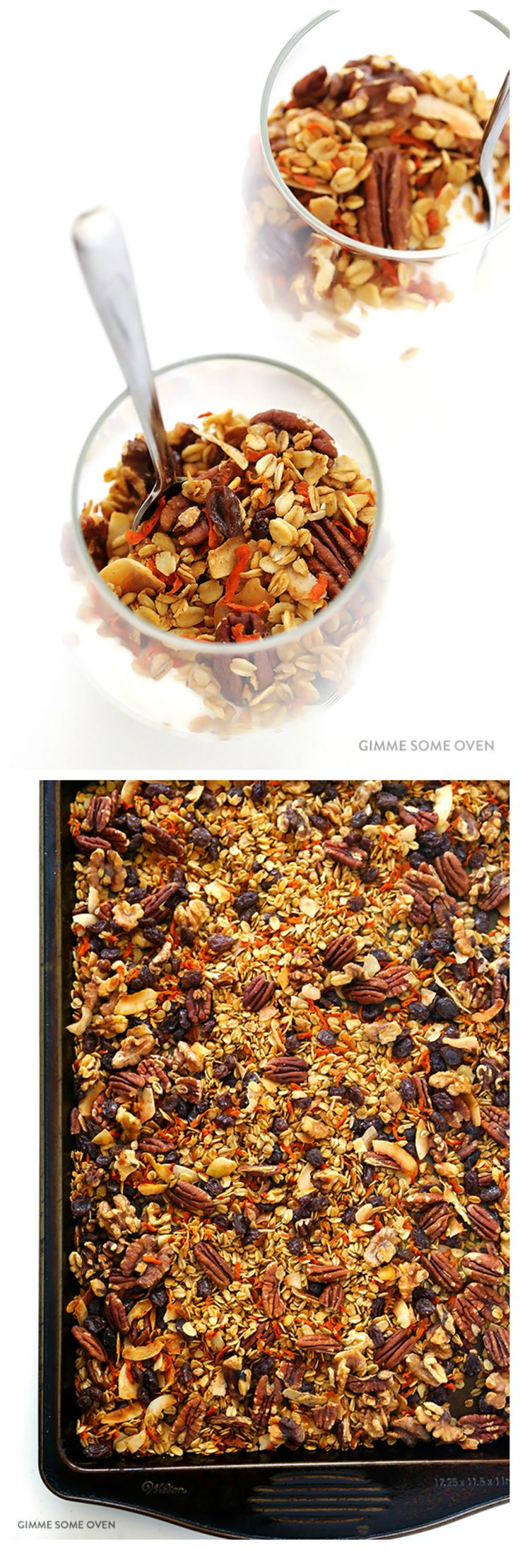 Carrot Cake Granola Recipe - naturally-sweetened with maple syrup | gimmesomeoven.com
