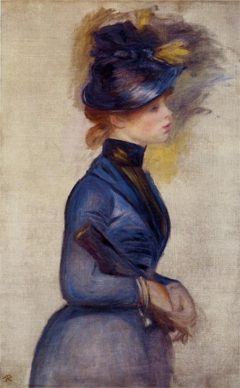 Pierre-Auguste Renoir (French 1841–1919) [Impressionism] Young Woman in Bright Blue at the Conservatory, 1877. Private Collection.