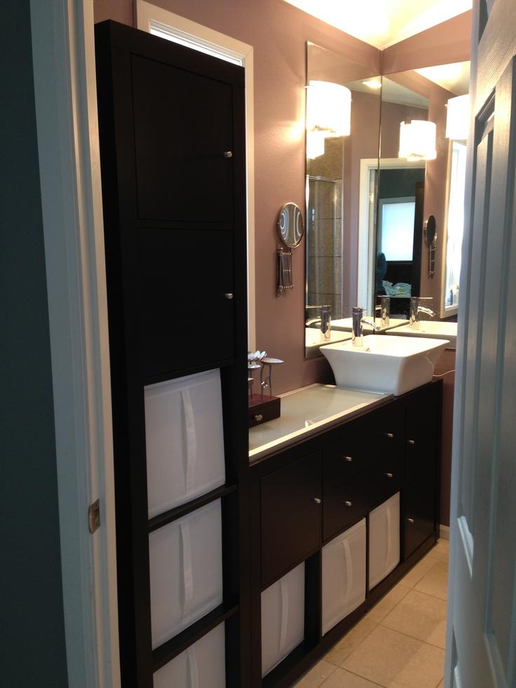 Tight bathroom vanity ikea expedit shelves 8 shelf - Bathroom vanity with frosted glass doors ...