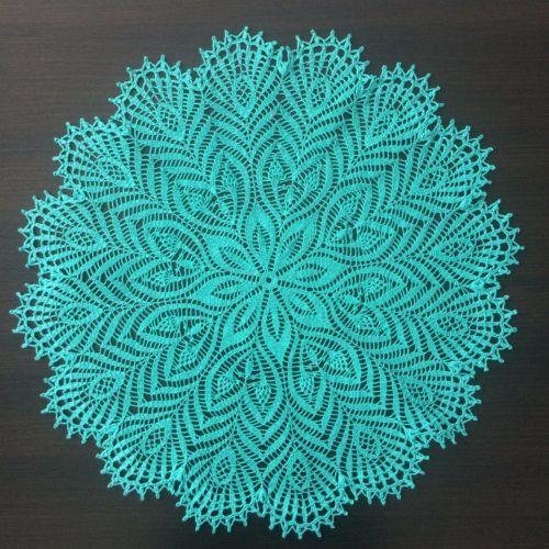 Peacock-Handmade-Crochet-Lace-Doily-Centerpiece-Tablecloth-Lagoon-Green
