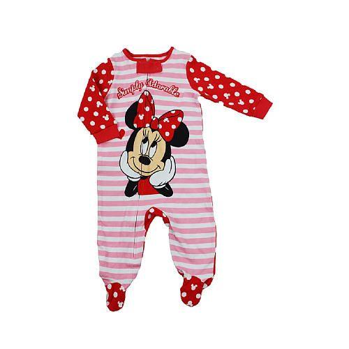 "Disney Baby Girls Pink Stripe ""Simply Adorable"" Minnie Mouse Raglan Zip Up Footie - Babies R Us - Babies ""R"" Us"