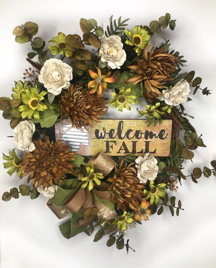 Fall wreath autumn welcome wreath welcome fall decor fall decorations rustic farmhouse wreath fall wedding gift housewarming gift